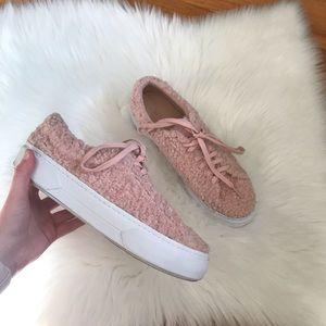 Zara Pink Sherpa Teddy Bear Platform Sneakers